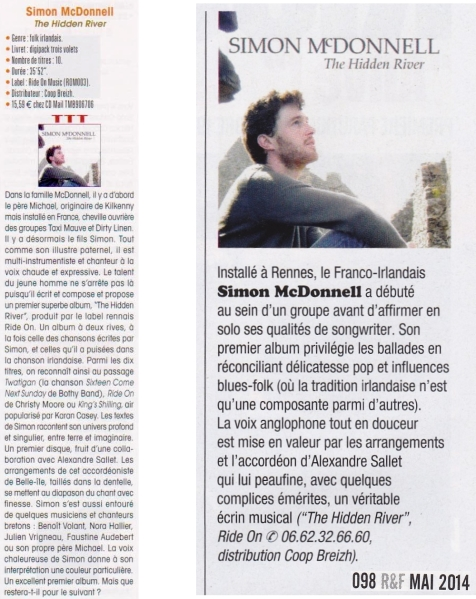 "Chronique Trad Magazine Juillet 2014 & Rock & Folk Mai 2014 Simon McDonnell "" The Hidden River"""