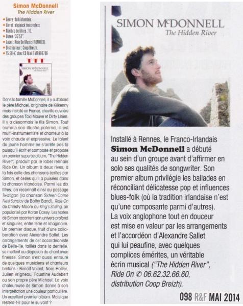 "ChroniqueTrad Magazine Juillet 2014 & Rock & Folk Mai 2014 Simon McDonnell "" The Hidden River"""